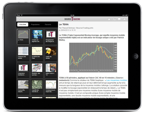 Visuel de l'application BourseTrading sur iPad